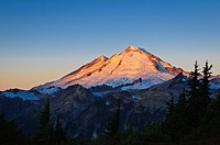 Washington, Cascade Mountains, View of Mount Baker at sunrise from Artist Ridge.