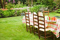 Table and chairs on lawn in garden