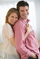 USA, New Jersey, Jersey City, Portrait of couple embracing, smiling