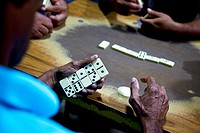 Men playing dominoes in Antón, Panamá