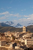 Village of Ainsa and Sorores peaks -Añisclo, Marboré and Monte Perdido-, Huesca, Spain