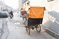 Rickshaw in alley, Beijing, Hutong, China