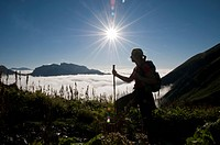 Hiker, sea of clouds, Eisenerz, Styria, Austria, Europe