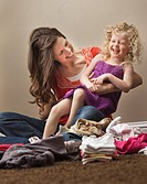 USA, Utah, Lehi, mother tickling daughter 2_3