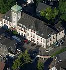 Aerial view, town hall, Herdecke, Ruhrgebiet area, North Rhine-Westphalia, Germany, Europe