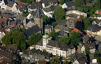 Aerial view, town hall, Herdecke, Ruhrgebiet area, North Rhine-Westphalia, Germany, Europe