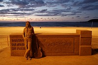 Sand sculpture of John Lennon and The Beatles on beach Playa de Las Canteras, Las Palmas, Gran Canaria, Canary Islands, Spain