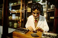 Figure of a woman packing chocolate, Chocolate Museum, Cologne, North Rhine_Westphalia, Germany, Europe