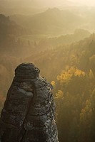 View from the Bastei overlooking Saxon Switzerland in autumn with morning mist, Elbe Sandstone Mountains, Saxon Switzerland, Saxony, Germany, Europe