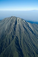 Aerial view, volcano Mount Meru, Mt. Kilimanjaro in the back, Tanzania, Africa
