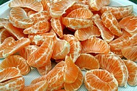 mandarin wedges, fruits.