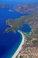 Aerial view, Oludeniz or Olu Deniz Bay near Fethiye, west coast, Turkey, Asia