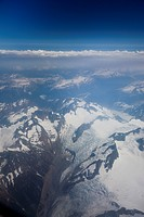 A view of the coastal mountains of British Columbia from the air.
