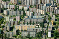 Aerial view, prefabricated buildings, residential area, Ceskych Bratri, Liberec, Czech Republic, Europe