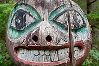 Close_up of a totem pole, Kasaan, Alaska, USA