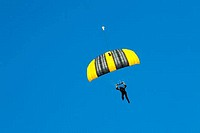 Paratrooper skydiving, Fort Worth Alliance Airport, Fort Worth, Tarrant County, Texas, USA