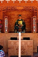 Incense burning in front of the statue of Koxinga, Koxinga Ancestral Shrine, Tainan, Taiwan