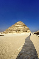 Step pyramid at Saqqara, one of the earliest Egyptian pyramids, built during the Third Dynasty 27th century BC. Imhotep was the architect for Egypt´s ...