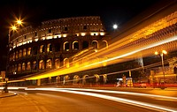 Colosseum Modern Street Abstract Night Moon Time Lapse Rome Italy Built by Vespacian