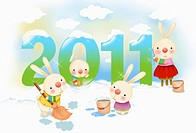 illustration in 2011 lunar year rabbits