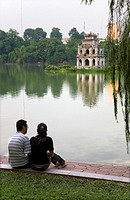 Turtle tower in Hoan Kiem Lake  Hanoi, Vietnam
