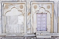 Lavender colored door, Taj Mahal, a mausoleum located in Agra, India, built by Mughal Emperor Shah Jahan in memory of his favorite wife, Mumtaz Mahal.