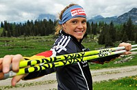 Evi Sachenbacher_Stehle, gold medalist from Vancouver, Nordic walking training on the Eggenalm alpine pasture, Reit im Winkl, Bavaria, Germany, Tyrol,...