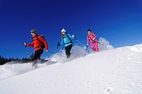 Snowshoers on a snowshoe hiking tour, Hemmersuppenalm alp, Reit im Winkl, Bavaria, Germany, Europe