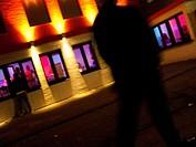 Brothel street, prostitutes in windows, john, Oberhausen, Ruhrgebiet region, North Rhine-Westphalia, Germany, Europe