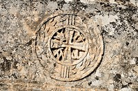 Christian ornament on a house ruin at the archeological site of Serjilla, Dead Cities, Syria, Middle East, West Asia