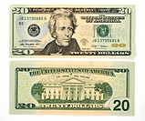 20 U.S. dollar banknote, front and back