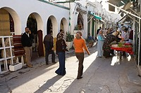 Salespeople and shops in the Medina, the historic centre of Tripoli, Libya, North Africa, Africa