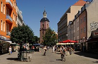 Pedestrian zone and Nikolaikirche church, old town, Spandau district, Berlin, Germany, Europe