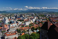 Elevated view of Ljubljana, Slovenia from Ljubljana Castle Ljubljanski grad