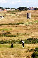 Royal Guernsey Golf Club, Martello towers, watch towers and fortified towers built in the 17th century, next to the fairways, at Pembroke bay in the n...