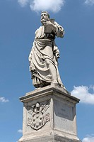 Statue of Saint Peter on Ponte Sant'Angelo, by Lorenzetto, aka Lorenzo Fiorentino, under pope Clement VII Medici, Medici coat of arms on the pedestal,...