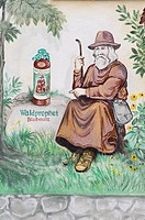 Mural depicting Bearwurz, a herbal liqueur, Zwiesel, Bavarian Forest National Park, Lower Bavaria, Germany, Europe