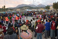 Crowd watching dancers at annual Festival of El Senor de las Soledad, Huaraz, Peru.