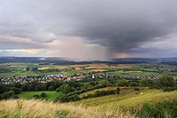 Regional heavy rain over the Hegau region, in front Muehlhausen-Ehingen village, Landkreis Konstanz county, Baden-Wuerttemberg, Germany, Europe