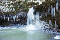 Lady Falls, Frozen Waterfall in January 2010 in Pontneddfechan, Neath Valley, South Wales, UK