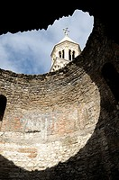 Croatia, Dalmatia, Split  St Domnius cathedral belltower through vestibule roof of Diocletian's Palace in old city