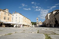 Croatia, Hvar island, Hvar  Main square Pjaca with buildings and cathedral of St Stephen