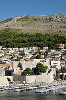Croatia, Dubrovnik  Old town and Srd hill from the ramparts