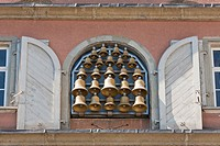 Glockenspiel carillon on the Neues Rathaus city hall, Lindau, Baden_Wuerttemberg, Germany, Europe