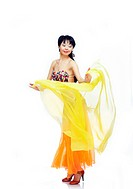 Belly dancer with yellow fabric