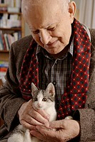 Elderly man, senior, 92, portrait, with a cat