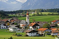 Small town of Tulfes, church, mountains, pastoral landscape, Tyrol, Austria, Europe