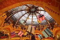 Art Nouveau dome of the Great Hall, with large gift packages, Galeries Lafayette department store, Paris, France, Europe