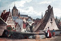Market square in Luebeck in 1820, historic city view, steel engraving from the 19th Century, Schleswig-Holstein, Germany, Europe