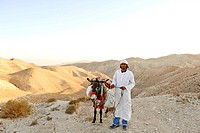 Arab souvenir seller with donkey, desert, Wadi el Qelt, Jericho, Judea, West Bank, Israel, Middle East, Southwest Asia